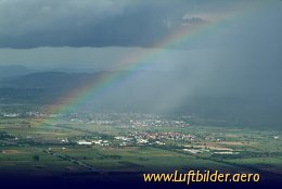 Aerial photo Rainbow in the Rhine Valley